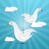 Vector Paper Birds Hang on Rope — Stock Vector
