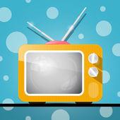 Retro Orange Television, TV Illustration on Abstract Blue Background — Stock Vector