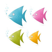 Colorful Fish Set Illustration Isolated on White Background — Stock Vector
