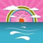 Ocean Abstract Sunset, Sunrise Vector Illustration with Sun, Birds, Rainbow — Stock Vector