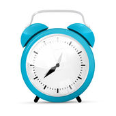 Blue Vector Alarm Clock Isolated on White Background — Stock Vector