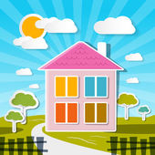 Vector House on Sunny Day with Trees and Clouds — Stock Vector
