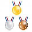 Vector Medals: Gold, Silver, Bronze, First, Second, Third — Stock Vector