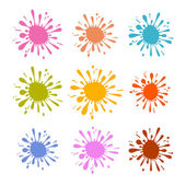 Colorful Vector Splash - Stain - Blot Illustration Set — Vector de stock