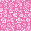 Vector Abstract Retro Seamless Pink Flower Pattern - Background — Stock Vector