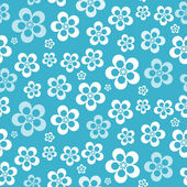 Vector Abstract Retro Seamless Blue Flower Pattern - Background — Stock Vector