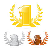 Gold, Silver, Bronze - First, Second and Third Place Vector Icons Set — Stock Vector