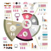 Retro Infographics Vector Layout with Icons - Elements — Stock Vector