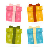 Vector Paper Gift Boxes Set Isolated on White Background — Stock Vector