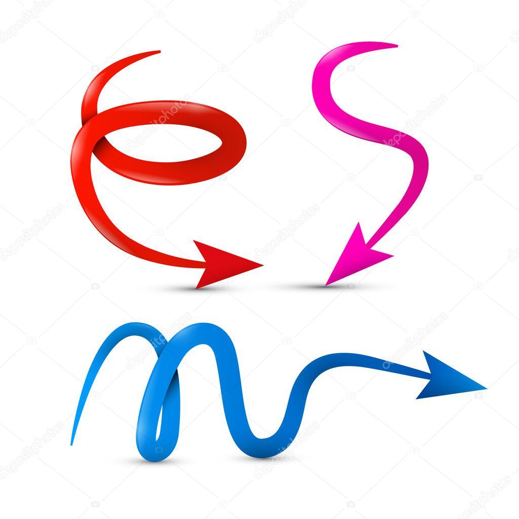 vecteur courbe rouge rose et bleu fl che 3d isol sur fond blanc image vectorielle mejn. Black Bedroom Furniture Sets. Home Design Ideas