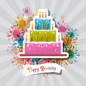 Birthday Background Illustration with Cake — Stock Vector