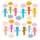 Paper People with Speech Bubbles Vector Illustration — Stock Vector