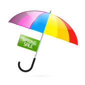Colorful Umbrella Illustration with Spring Sale Title — Stock Vector