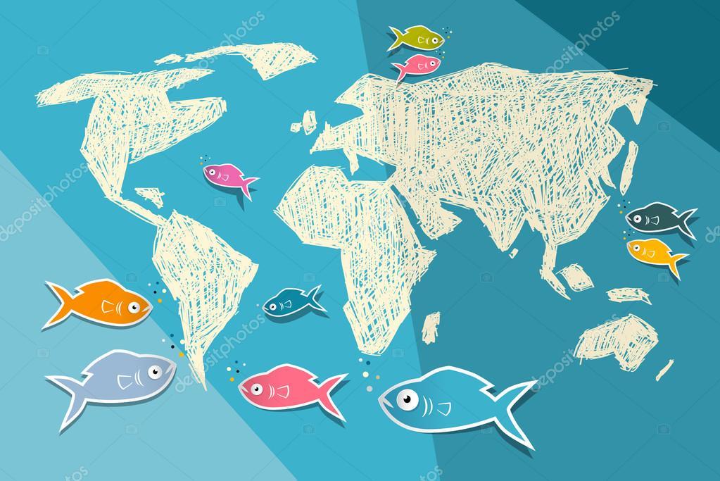 矢量蓝色纸张背景上的世界地图插图