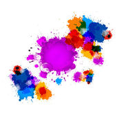 Colorful Vector Stains, Blots, Splashes Background with Water Drops — Stock Vector