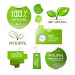Stock Vector: Natural Product Green Labels - Tags - Stickers Set