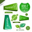 Natural Product Green Labels - Tags - Stickers Set — Stock Vector #41559179