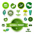 Stock Vector: Natural Product Green Labels - Tags - Stickers Set Isolated on White Background