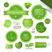 Natural Product Green Labels - Tags - Stickers Set — Vetorial Stock