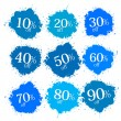 Blue Discount Labels, Stains, Splashes  — Stock Vector #41561407