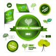 Natural Product Green Labels - Tags - Stickers Set Isolated on White Background  — Vetorial Stock #41561701