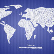 Vector Paper World Map Illustration on Blue Background — Stock Vector #41564013