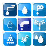 Vector Water Buttons - Symbols - Icons Set  — Stock Vector