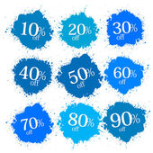 Blue Discount Labels, Stains, Splashes  — Stock Vector
