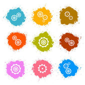 Vector Cogs - Gears Colorful Splashes Icons Set Isolated on White Background — Stock Vector