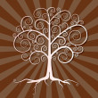 Abstract Vector Tree Illustration on Brown Retro Background — Stock Vector #41822623