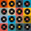 Vector de stock : Retro, Vintage Vector Vinyl Record Disc Set on Colorful Background