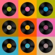 Retro, Vintage Vector Vinyl Record Disc Background — Stock Vector