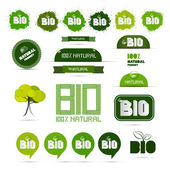 Bio - Natural Product Green Labels - Tags - Stickers Set  — Vetorial Stock