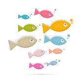 красочные абстрактные векторные иллюстрации рыбы, изолированные на белом фоне — Cтоковый вектор