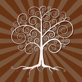 Abstract Vector Tree Illustration on Brown Retro Background — ストックベクタ
