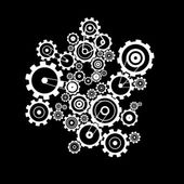Abstract Vector Cogs - Gears on Black Background — Vecteur