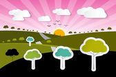 De achtergrond van de aard van landelijke papier vector met bomen, wolken — Stockvector