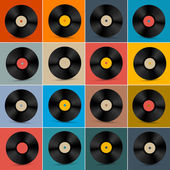 Retro, Vintage Vector Vinyl Record Disc Set on Colorful Background — Cтоковый вектор