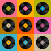 Retro, Vintage Vector Vinyl Record Disc Background  — Stock Vector