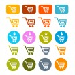 Shopping Cart, Basket, Web Symbols, Icons Set — Stock Vector