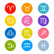Vector Zodiac, Horoscope Circle Symbols in Retro Colors — Stock Vector