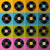 Retro, Vintage Vector Vinyl Record Disc Set on Colorful Background — Stock vektor