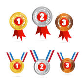 Vector Medals Sets - Gold, Silver, Bronze, First, Second, Third  — Stock Vector