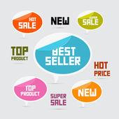 Etichette, cartellini, best-seller adesivi, vendita nuovo, super, prodotto top — Vettoriale Stock