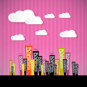 Abstract Retro Paper City Illustration with Clouds and Pink Background — Stock Vector