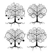 Abstract Vector Black Tree Illustration Set — Stock Vector