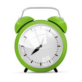 Green Alarm Clock Illustration Isolated on White Background — Stock Vector