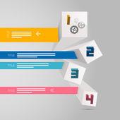 Four Vector Progress Steps for Tutorial, Modern 3d Infographics Layout — Stock Vector