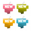 Paper New Tags Set, Labels Isolated on White Background — Stock Vector
