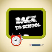 Back to School Title with Chalk - Alarm Clock, Pencil and Blackboard — Stock Vector
